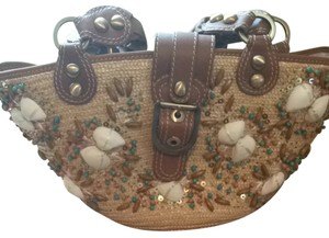 Rafe Sequins Shells Satchel in Straw