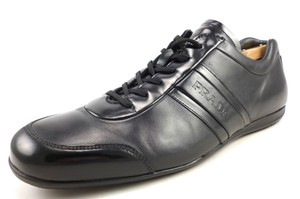 Prada Black Men's Leather Lace Up Sneakers Shoes