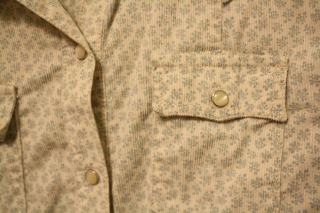 Gap Corduroy Western Mother Of Pearl Snaps Floral Button Down Shirt Cream/baby-blue