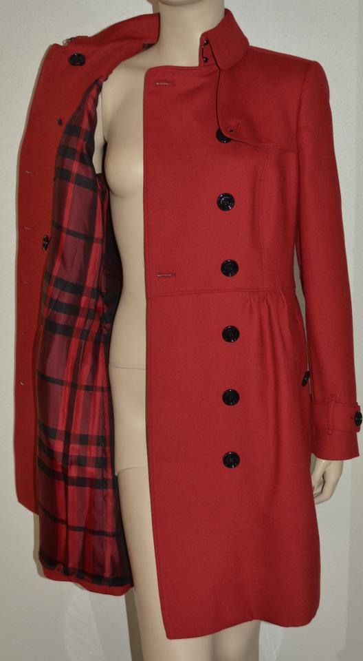 bc596a0a Burberry Red Womens Wool Twill Dress Jacket Us Eu 40 Coat Size 6 (S ...