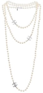 Chanel GLASS PEARL TRIPLE CC LONG NECKLACE
