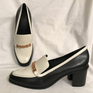 Tory Burch Leather Patent Leather Loafers Pump Chunky Heels Black White Flats