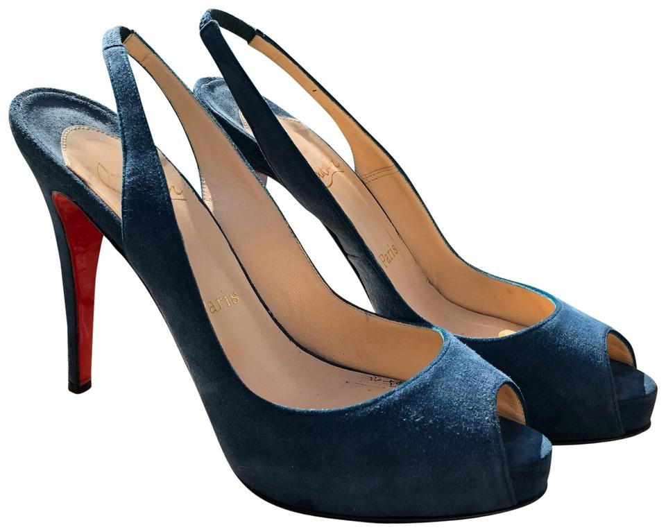 Christian Louboutin Teal Pumps Blue No Prive Suede Pumps Teal 8ce20b