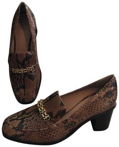 Tory Burch Leather Python Snakeskin Loafers Slip Ons Brown Black Flats