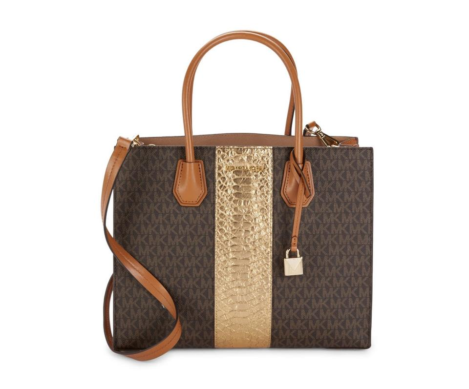 877a9509bce9 Michael Kors Mercer Large Convertible Center Stripe Satchel Brown Leather  Tote