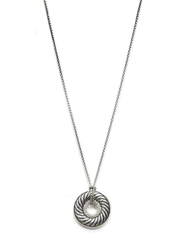 David yurman silver sterling diamond carved cable circle pendant david yurman david yurman sterling diamond carved cable circle pendant necklace aloadofball Images