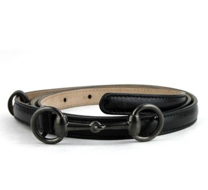 Gucci Black Leather Thin Skinny Belt w/Horsebit Buckle 80/32 282349 1000