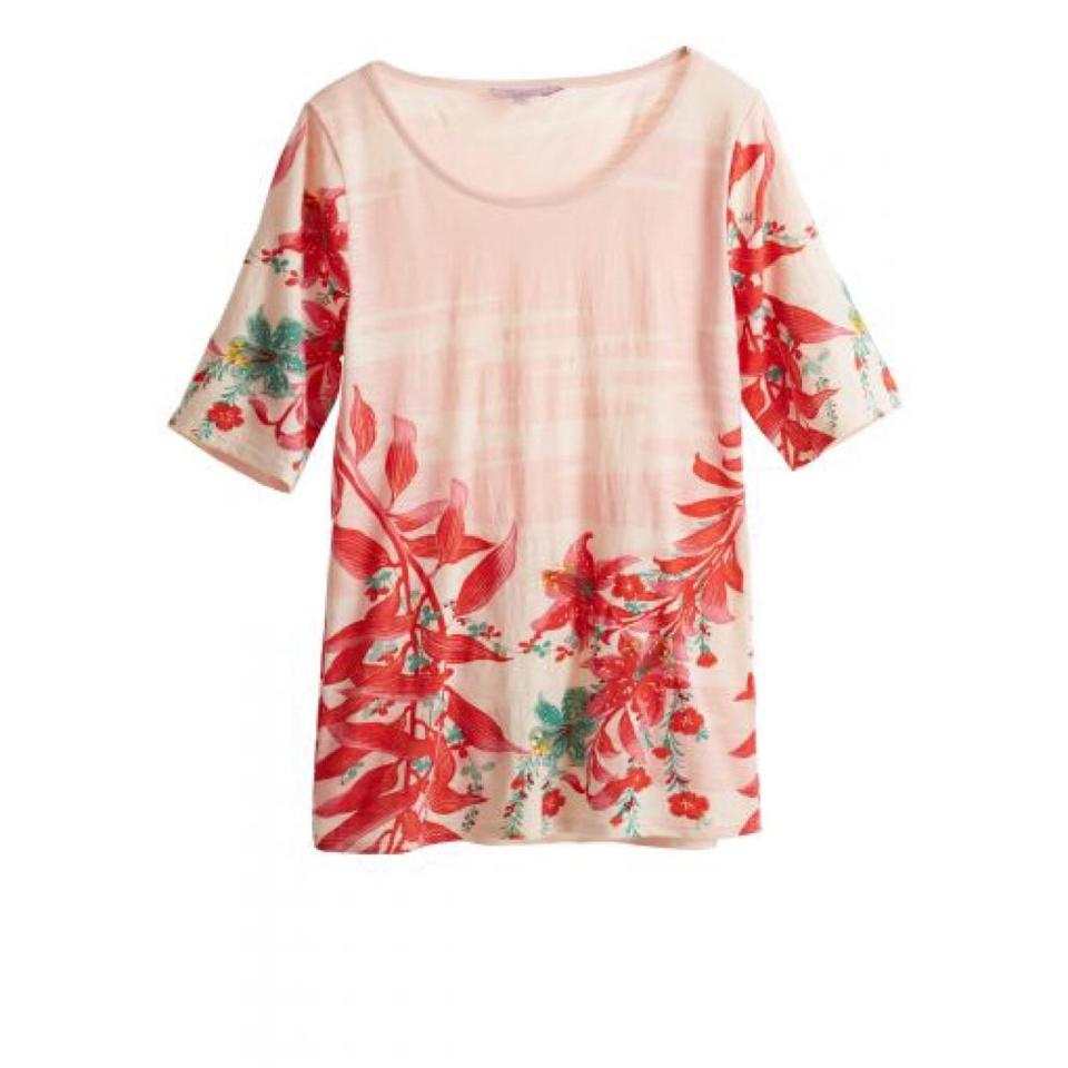 e1e4f69985c Calypso St. Barth Pink Floral Ruka Printed Cotton Small Tee Shirt ...
