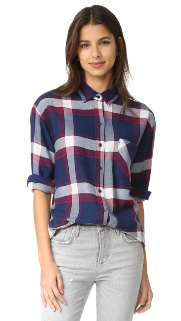 Item - Navy Red Catalina Jackson Wine Plaid Shirt Button-down Top Size 2 (XS)