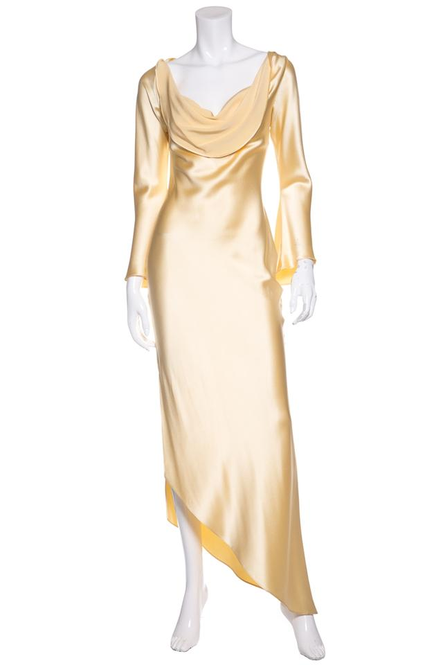 Marc Bouwer Yellow Pale Satin Evening Gown Long Formal Dress Size 6 ...