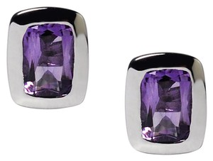 NY Collection 925 Sterling Genuine Bezel Set Purple Amethyst Push Back Womens Stud