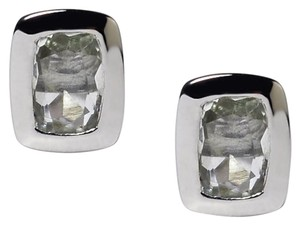 NY Collection 925 Sterling Natural Bezel Set Green Amethyst Push Back Womens Stud