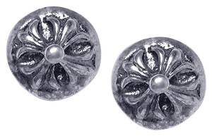 NY Collection Oxidized 925 Sterling Vintage Fleur De Lis Lily Womens Small Studs