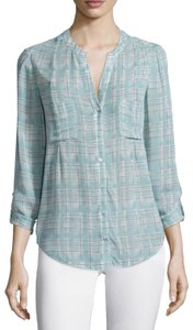 Joie Silk Bonilla Plaid Collarless Top Blue