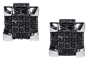 NY Collection 925 Sterling Black CZ Square Cube Push Back Mens Large Stud Earrings