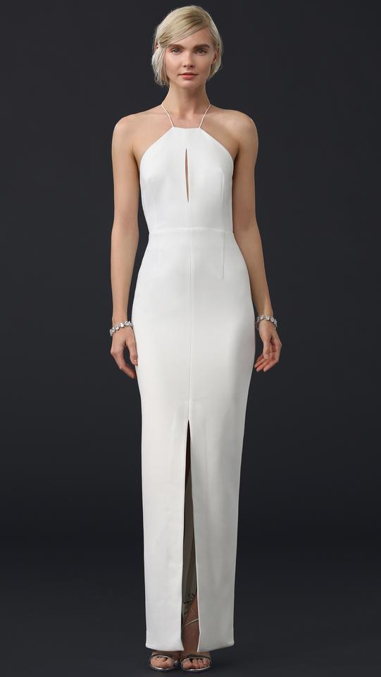 NICHOLAS White Backless Strap Crepe Gown Modern Wedding Dress Size 2 ...