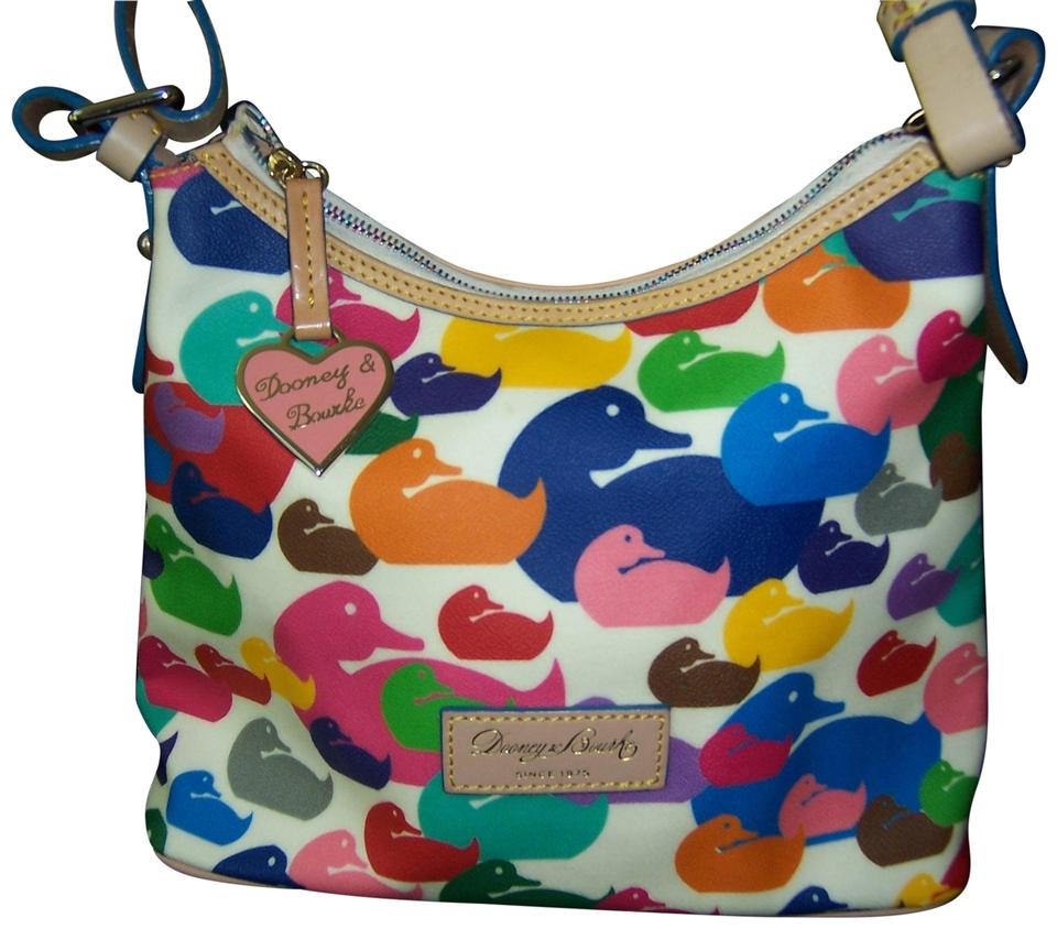 b6119ce8b583 Dooney   Bourke Duck Print Like New Multicolor Canvas Leather Hobo ...