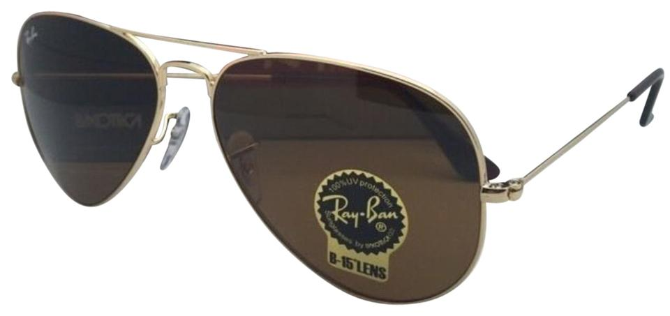 63dbaa465350 Ray-Ban Rb 3025 001 33 58-14 Gold Aviator Frame W  B15 Brown Lenses ...