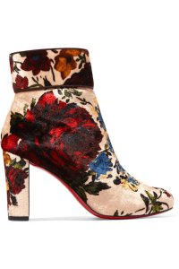 Christian Louboutin Moulamax Stiletto Ankle Floral nude Boots
