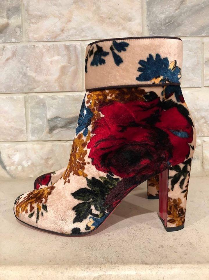 a92fcf27a042 Christian Louboutin Moulamax Stiletto Floral Ankle nude Boots Image 11.  123456789101112