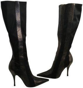 Carlos by Carlos Santana Pewter embossed leather black stretch fabric gusset stiletto heels knee Boots
