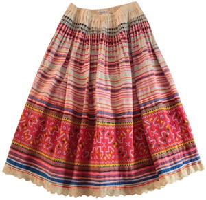 Aoyama Itchome A-line Embroidered Ethnic Skirt Multicolor