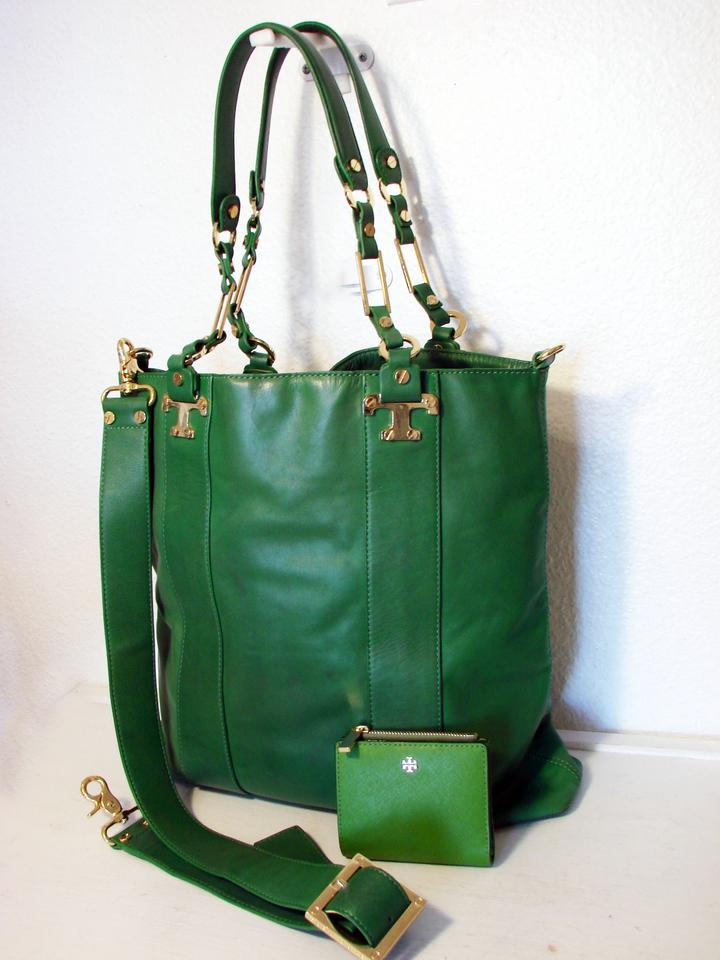 2e51b1e3f79 Tory Burch T Nico N S and Wallet Set Emerald Green Leather Tote 55% off  retail