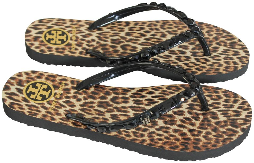 0985fed6c Tory Burch Black Leopard Jeweled Thin Flip Flop Sandals Size US 9 ...