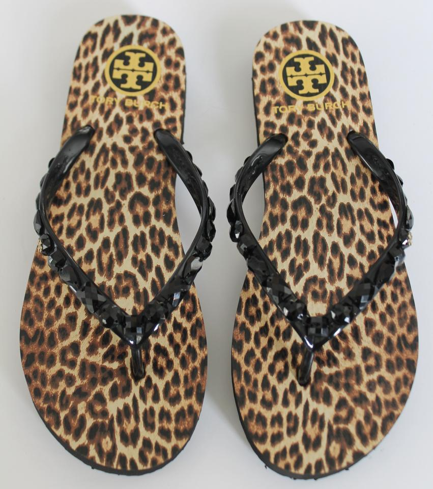 6aed171ded0aa5 Tory Burch Black Leopard Jeweled Thin Flip Flop Sandals Size US 9 ...