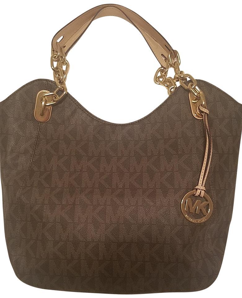 03d9e7009b1f Michael Kors Mk Large Lilly Signature Brown Pvc Tote - Tradesy