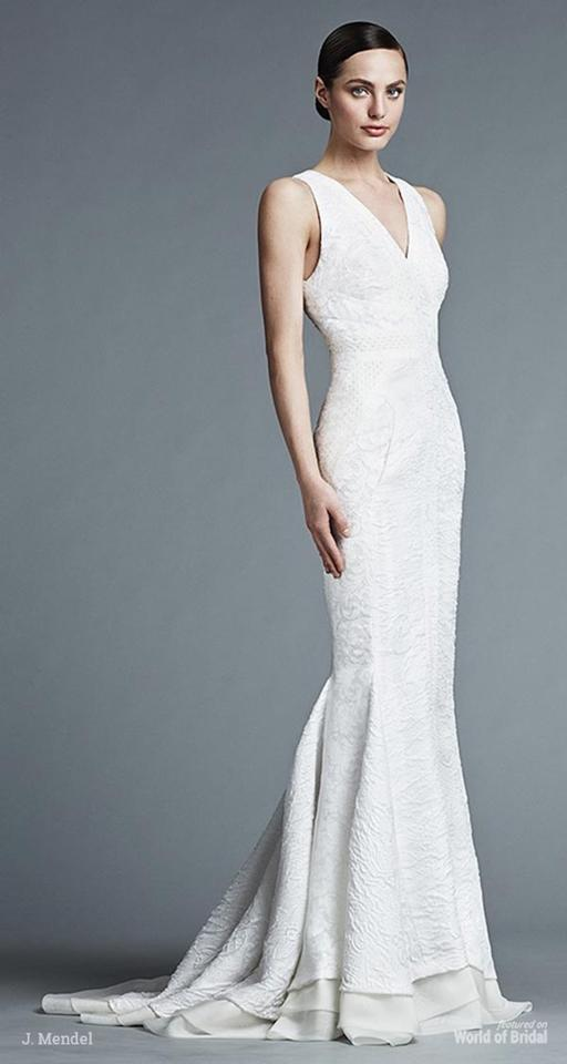 J. Mendel Ivory Silk Lace and Chiffon Spring 2016 Modern Wedding ...