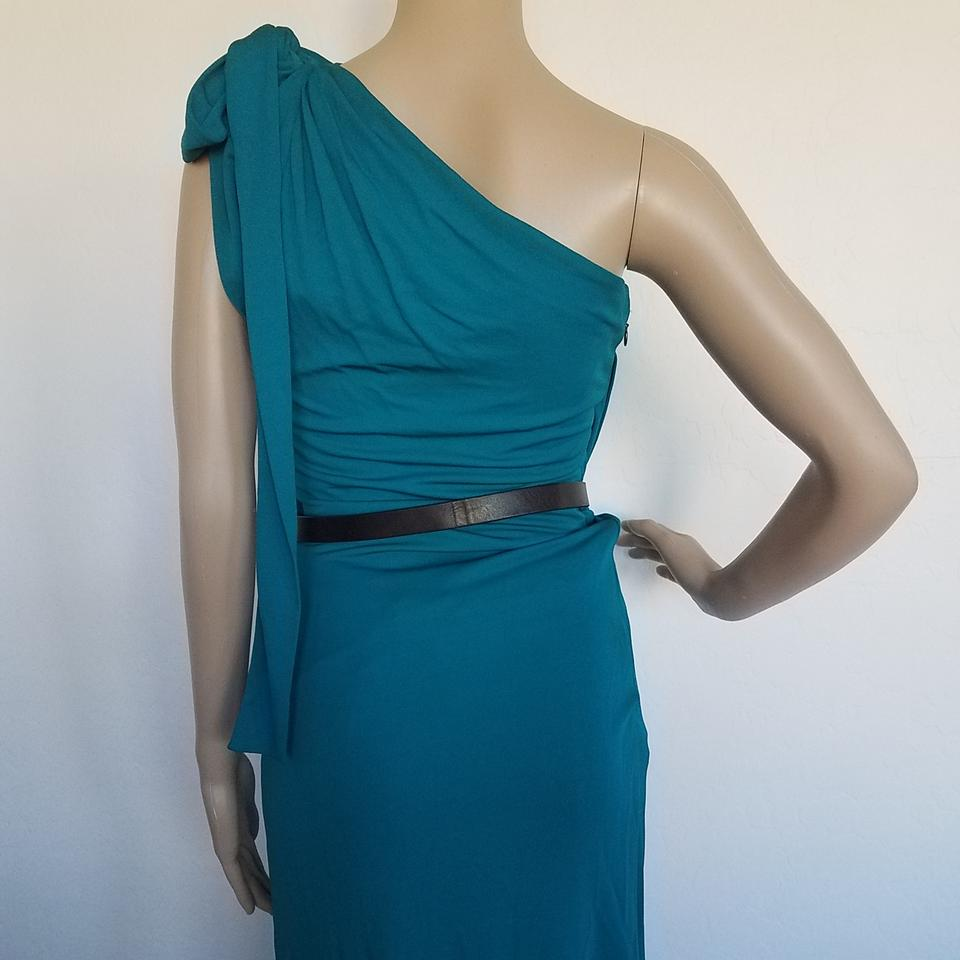 Gucci Green Blue Black Gold Teal Gg Buckle Belted One-shoulder Midi ...