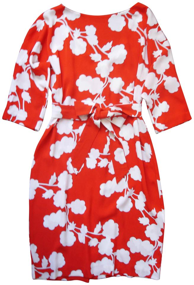 Diane von furstenberg red and white flower print mid length cocktail diane von furstenberg boxy loose fit dvf casual dress mightylinksfo