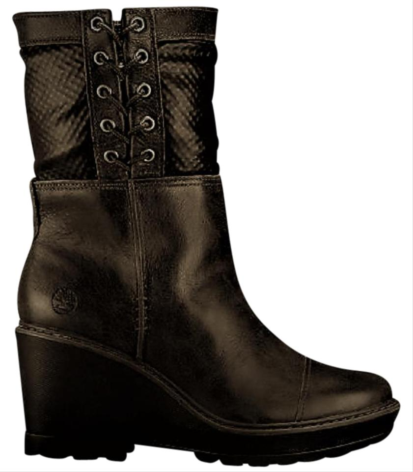 Timberland Black Women s Kellis Wedge Fold-down Boots Booties Size ... 3e422265c1