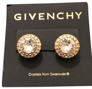 Givenchy Round studs in yellow gold with Swarovski cristals, Pierced