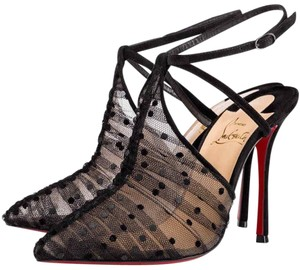 Christian Louboutin Acide Lace Pigalle Stiletto Ankle Strap black Pumps
