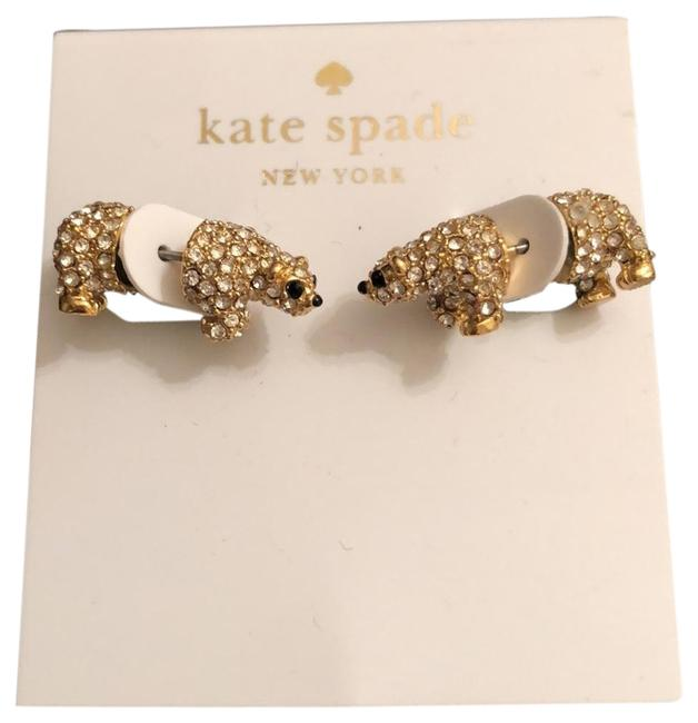 Kate Spade Yellow Gold Crystals Pave Polar Bears Back/Front Earrings Kate Spade Yellow Gold Crystals Pave Polar Bears Back/Front Earrings Image 1