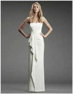 20065fd09e511 Nicole Miller Bridal Ivory Silk Blend Fa0027 Destination Wedding Dress Size  10 (M)