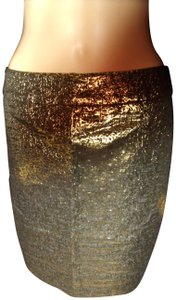 Alyx Leopard Metallic Exotic Glam Skirt Gold & Black