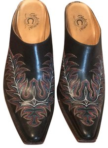 Charlie 1 Horse by Lucchese black w multicolor stiching Mules