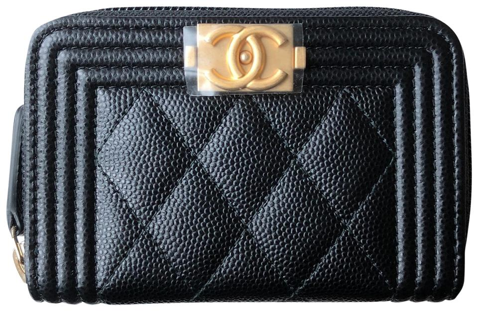 a92007f9b006 Chanel Black Boy Caviar Zipper Cardholder Wallet - Tradesy