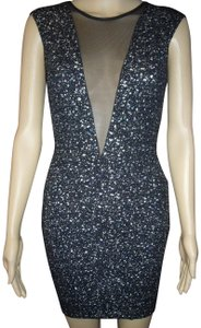 Arden B. Mesh Party Cocktail Spackle Graffiti Dress