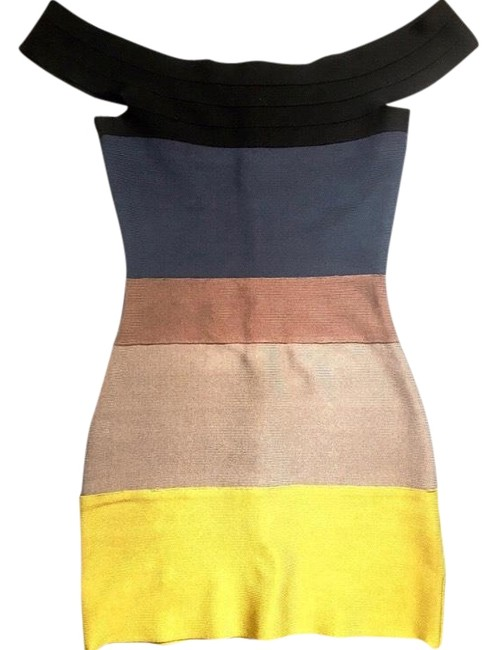 Item - Black Tan Yellow and Blue Off The Shoulder Bandage Short Cocktail Dress Size 0 (XS)