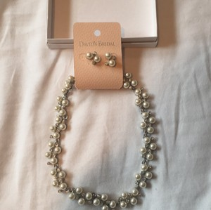 David's Bridal Silver Pearl Crystal Jewelry Set