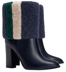 Tory Burch Blue Green White Fur Leather Navy Boots