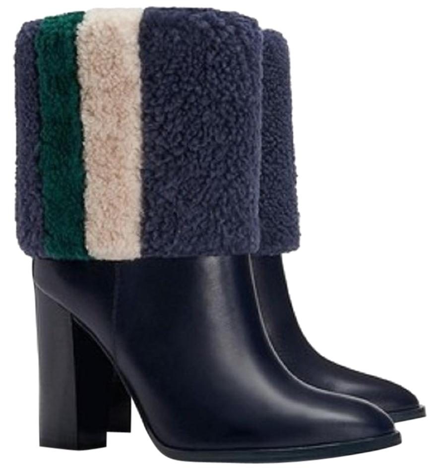 baa65d91978de Tory Burch Navy Bamford Died Lamb Fur Leather Ankle Boots Booties ...