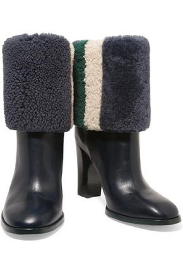 901f080e95531 Tory Burch Blue Green White Fur Leather Navy Boots Image 11. 123456789101112
