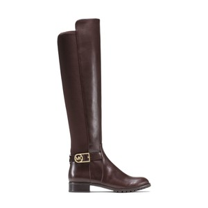 Michael Kors Leather Tall Riding Stretch Back Brown Boots