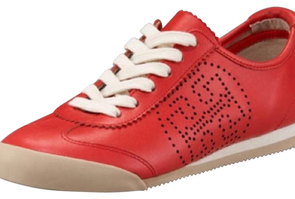 2c6c4b4d0b53 Tory Burch Red Murphy Perforated Tennis Sneakers Size US 8.5 Regular ...
