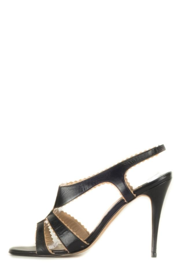 Manolo Leather Blahnik Black And Tan Leather Manolo Sandals d5aeb9